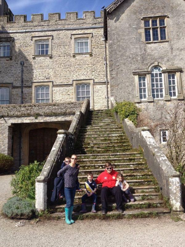 Lynn and her Kids at the Castle